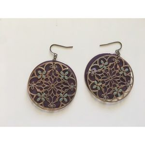 Jewelry - 3 for $25 - Purple and Gold Filigree Earrings